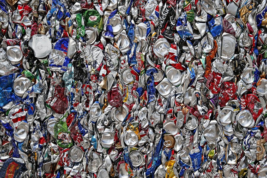 Bales of recycled aluminum cans awaits shipping outside the Glendale M.R.F., or Material Recovery Facility as seen in Glendale on August 18, 2015
