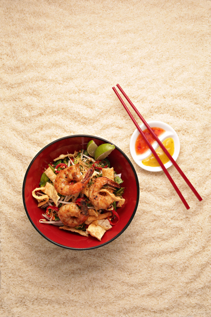 Shrimp rice bowl for summer rice bowl CP made by Foosia Fresh Asian restaurant as seen in Scottsdale on April 28, 2015