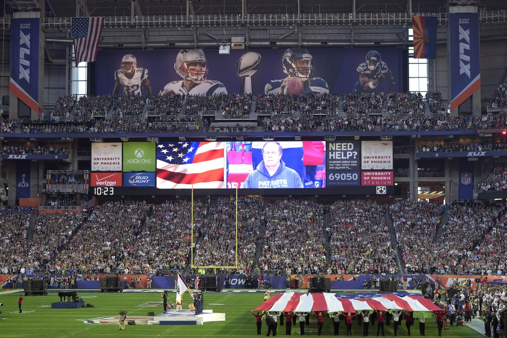 Feb 1, 2015; Glendale, AZ, USA; A general view of the national anthem before the game between the Seattle Seahawks and the New England Patriots in Super Bowl XLIX at University of Phoenix Stadium. The Patriots won 28-24. Mandatory Credit: Joe Camporeale-USA TODAY Sports