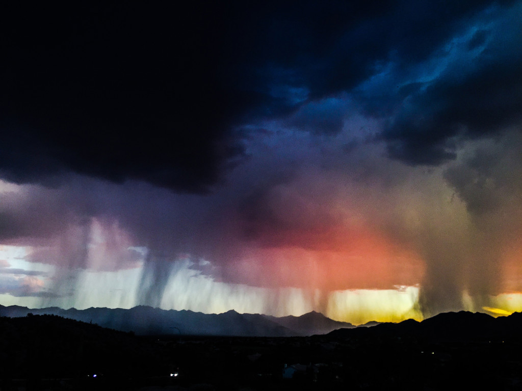 Rain storm near South Mountain in Chandler Az., on August 31, 2015.