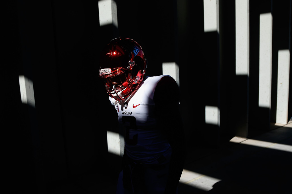 TEMPE, AZ - NOVEMBER 21:  Wide receiver Tyrell Johnson #2 of the Arizona Wildcats walks out onto the field before the college football game against the Arizona State Sun Devils at Sun Devil Stadium on November 21, 2015 in Tempe, Arizona.  (Photo by Christian Petersen/Getty Images)